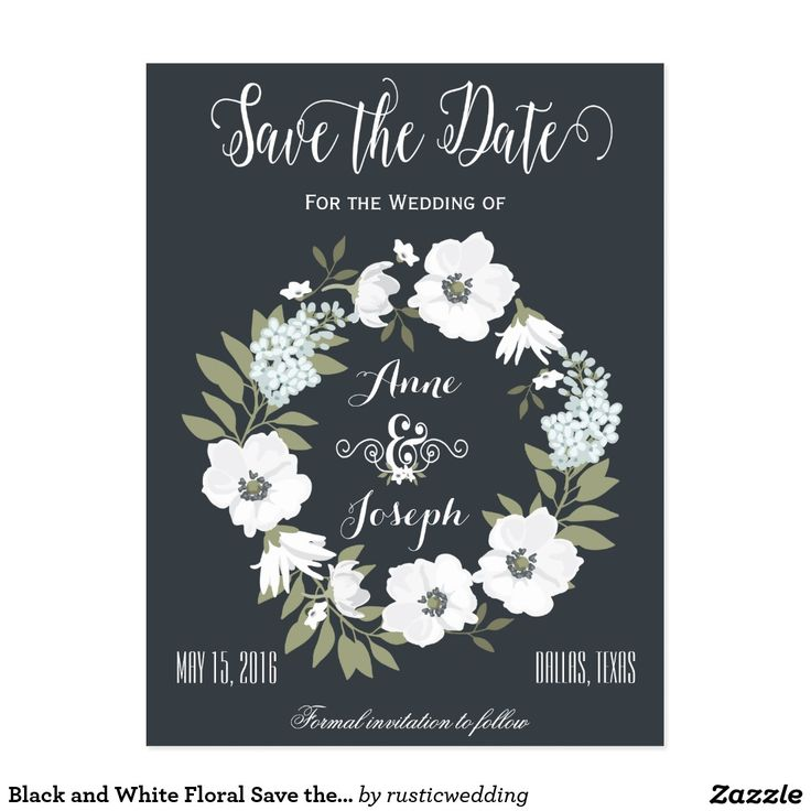 Black and White Floral Save the Date