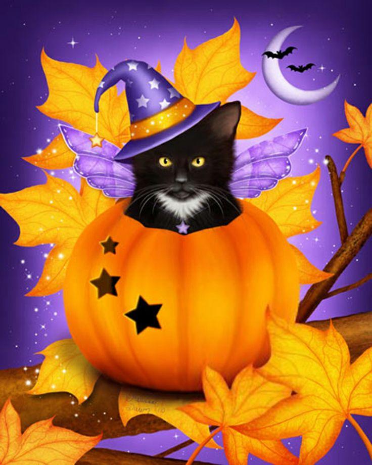 pumpkin cat magic par melissa dawn chats verif pinterest cat art cats and pumpkins. Black Bedroom Furniture Sets. Home Design Ideas