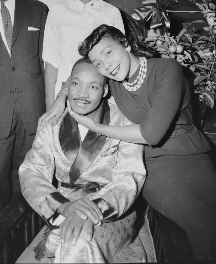 King and his wife Coretta are relieved during an interview at Harlem Hospital in 1958.