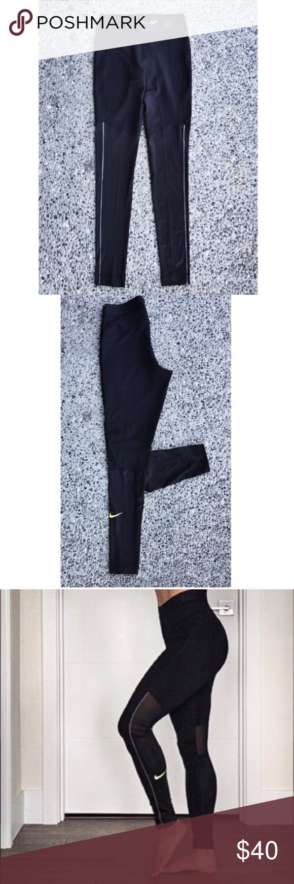 High Waisted Nike Pro Leggings These moisture wicking dri-fit leggings with a wide elastic waistband are perfect for working out.  Reflective neon yellow swoosh logo on left calf.  NWOT.  Price is firm. Nike Pants Leggings