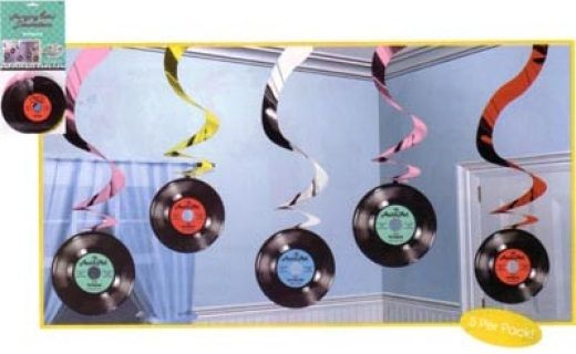 32 - Rock N Roll Hanging Swirls. Pack of 5 Hanging Decoration Rock & Roll Swirls (60cm)
