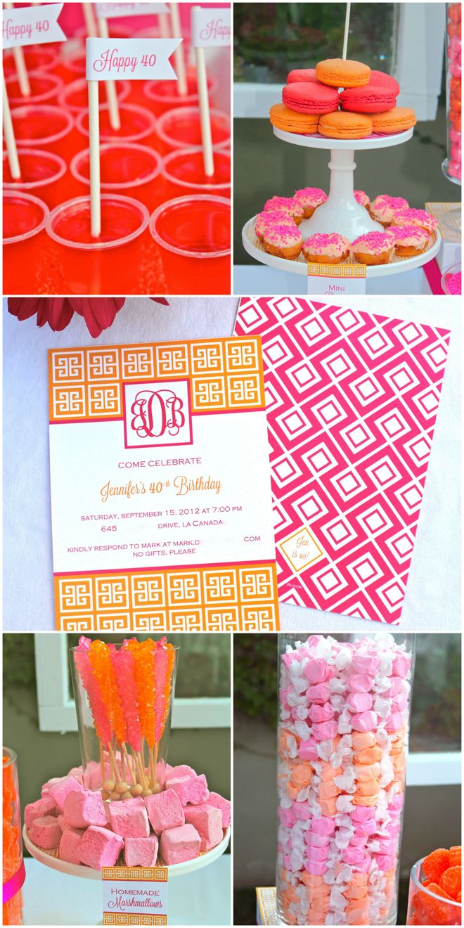 Pink and Orange candy... I still have pink polka dot treat bags left over from my wedding. Mini candy bar?