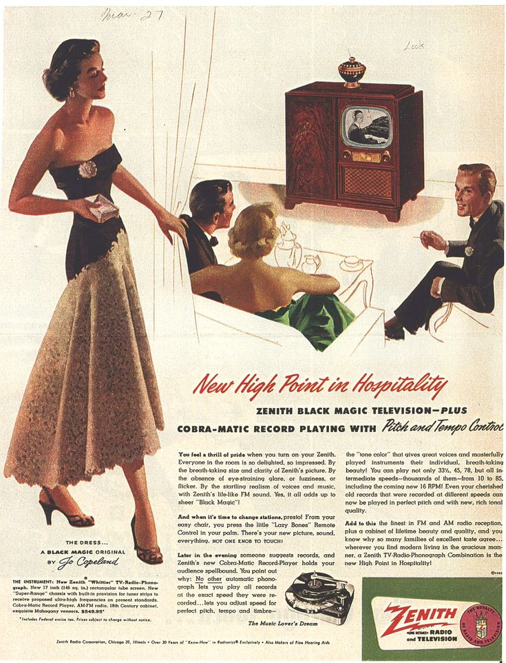 Zenith TV ad, 1951  From Look Magazine, March 27, 1951,