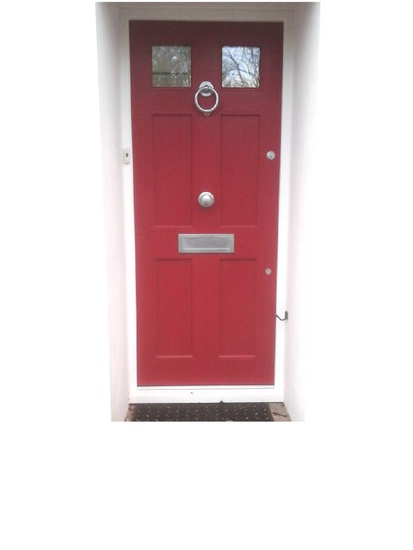 A new Accoya door painted in  Farrow & Ball's paint 'Rectory Red', mixed by Teknos