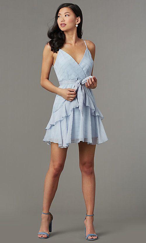 Light Blue Striped Short Wedding Guest Party Dress Short Wedding Guest Dresses Chiffon Dress Short Dresses