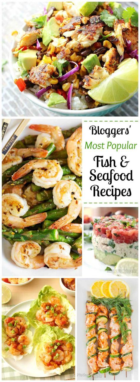 Super-popular seafood and fish recipes – gathered from among the most popular healthy recipes other bloggers have ever published! Fish dinners are quick-cooking, perfect for busy weeknight meals! We've got an easy Shrimp Stir Fry, Fish Taco Bowls, Baked Salmon, a gorgeous layered Tuna Salad, Grilled Salmon Kabobs … and more! These top fish and seafood recipes are easy, healthy and super-popular – definitely the fish dinner recipes you've gotta try next! | http://www.TwoHealthyKitchens.com