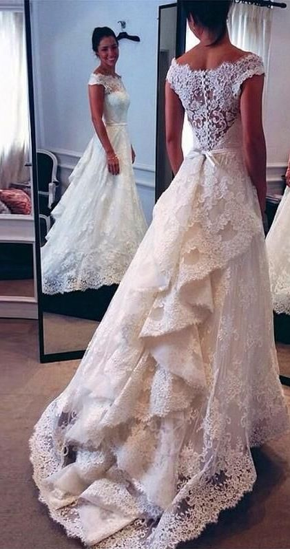 2016 Vintage Lace Wedding Dresses Audrey Hepburn Style Off the Shoulder Layers…