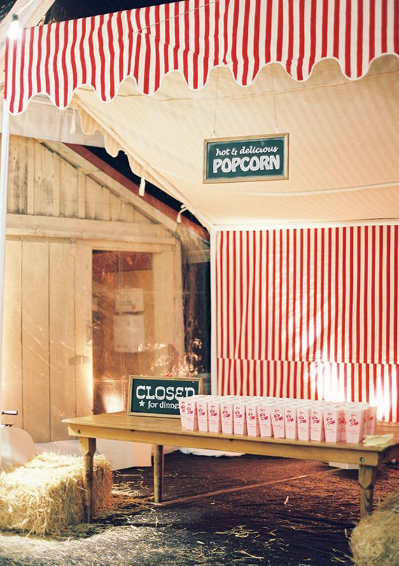 popcorn stand - State Fair themed rehearsal dinner | photo by Jose Villa | 100 Layer Cake
