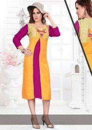 Casual Wear Yellow Rayon Printed Kurti