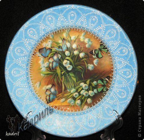 Декор предметов Декупаж Лепка Роспись Старые тарелки - в дело Краска Стекло Фарфор холодный фото 6