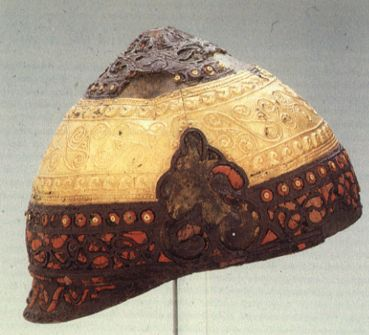 Ceremonial gilded iron helmet dating to the la tene