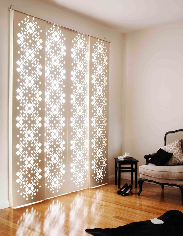 Laser-cut 'DecoGlide Screens' are stylish panels on a gliding track that also add sun, heat protection and privacy to your home.