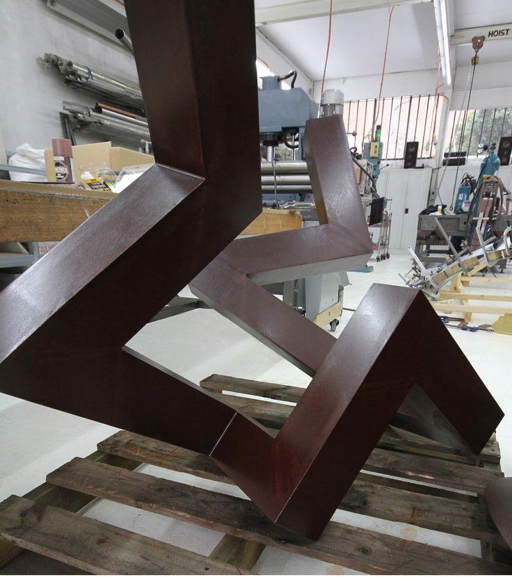 KORBAN/FLAUBERT: STALKER, corten/weathering steel sculpture in KF metal workshop