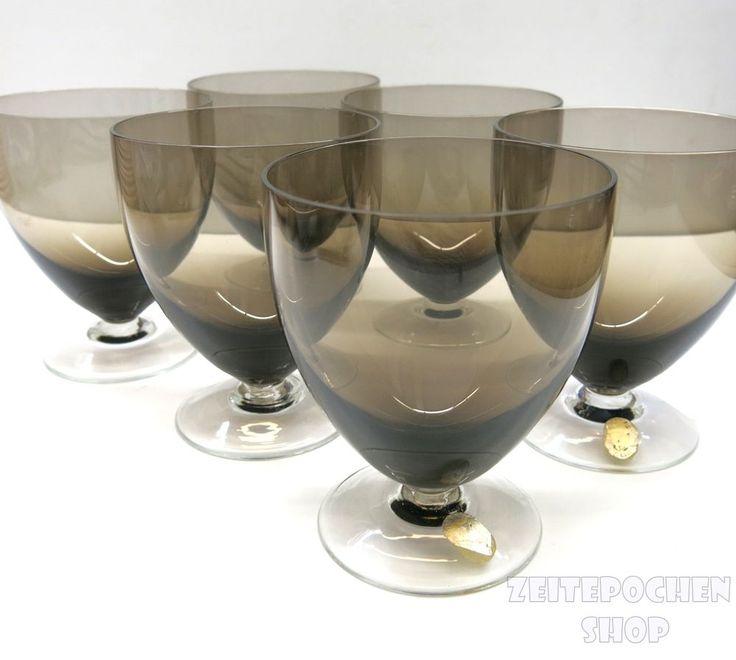 Vintage Schott Zwiesel Gläser Rauchglas   60er Jahre Mid Century   Sherry Wein