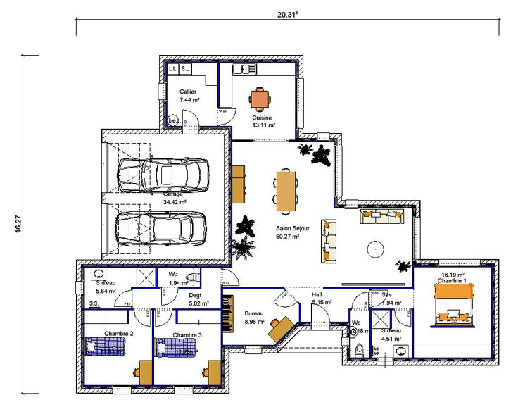 1000 ideias sobre plan maison plain pied no pinterest for Google plan maison