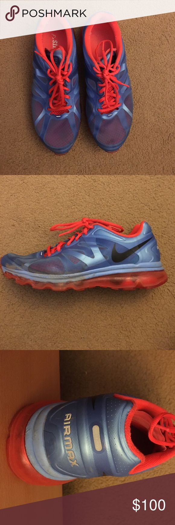 Nike Air Max Sneakers Lightly worn, bright orange and blue Nike sneakers. Comfortable and in good condition. Nike Shoes Sneakers