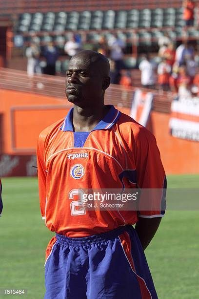 Jervis Drummond of Costa Rica prepares for the during the 2002 Gold Cup match against Trinidad Tobago at the Orange Bowl in Miami FloridaThe game end...