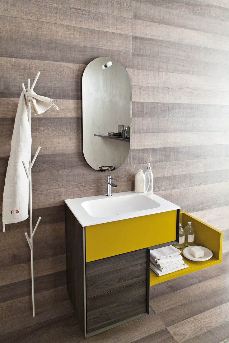 Polsihed modern bathroom in grey wiith elegant floor tiles decoist - Closer Look At The Bright Yellow Vanity With Sleek Italian Style Decoist