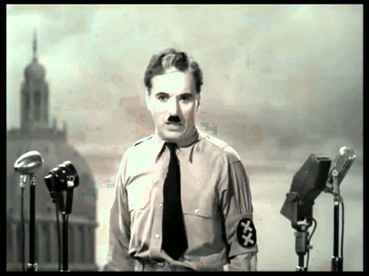 """Aus dem Film """"Der große Diktator"""", Charles Chaplins Rede an die Menschheit, diese beeindruckende Rede passt auch in die heutige Zeit."""
