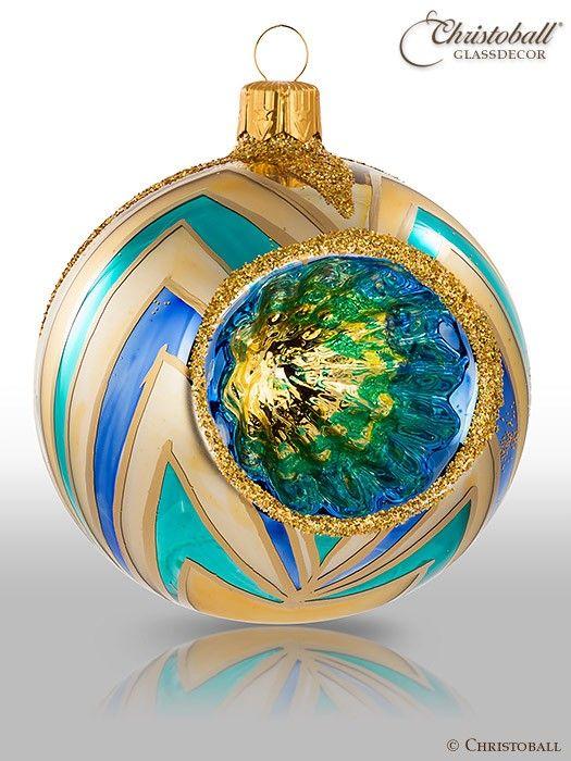 Precious Reflex Weihnachtskugeln, Türkis-Gold