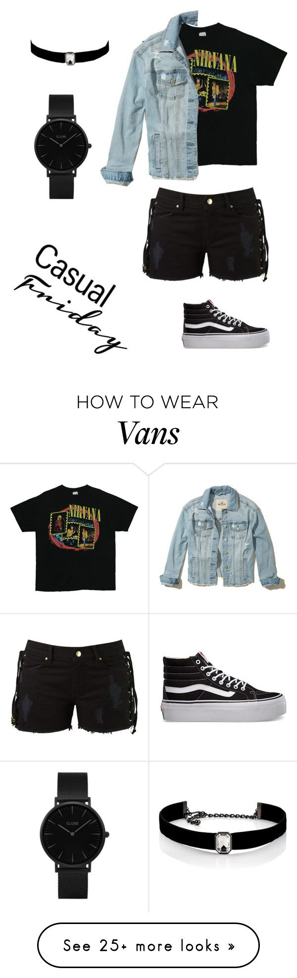 """""""Nirvana"""" by eveline-maria on Polyvore featuring Hollister Co., Amapô, Vans, Kenneth Jay Lane and CLUSE"""