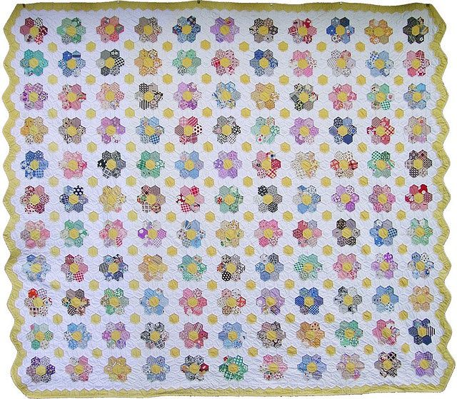 Image result for grandmother garden hexagon quilts