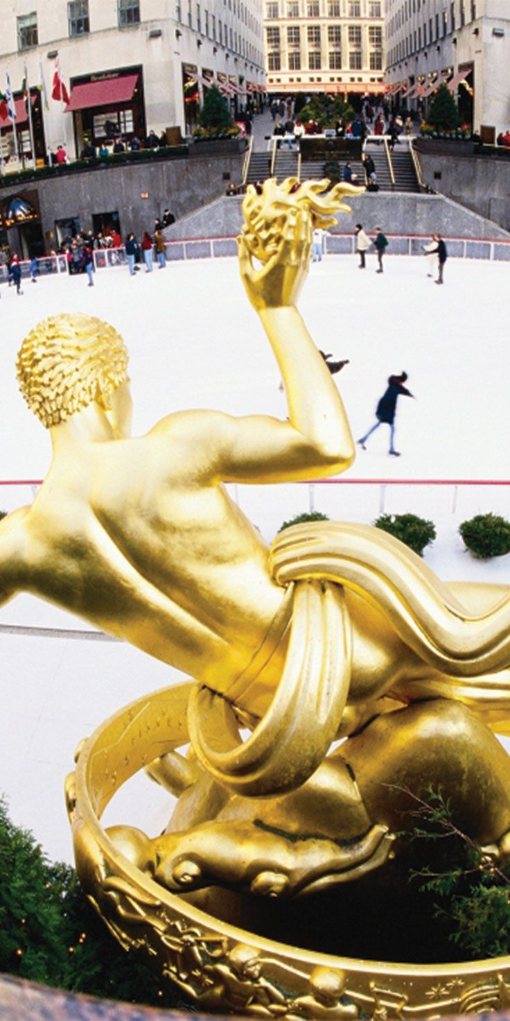 The popular Rockefeller Center ice skating rink in New York City.