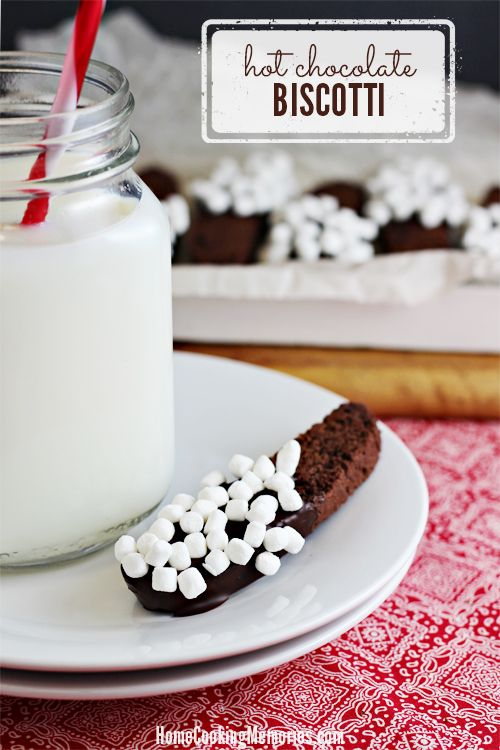 Hot Chocolate Biscotti -- a crisp chocolate cookie with plenty of tiny marshmallows. Perfect for dunking in a glass of milk or cup of hot cocoa