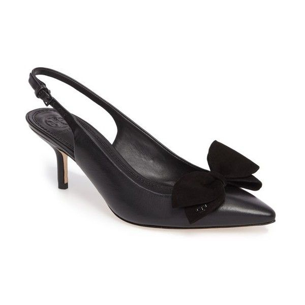 Women's Tory Burch Rosalind Slingback Pump (€175) ❤ liked on Polyvore featuring shoes, pumps, black, black pumps, kitten heel pumps, kitten heel slingback pumps, bow pumps and black slingback pumps