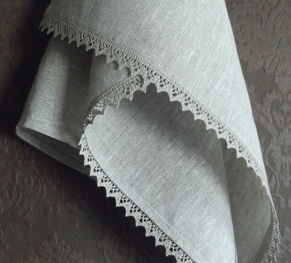 Stone Whashed Linen Towel with Lace by byAneri on Etsy