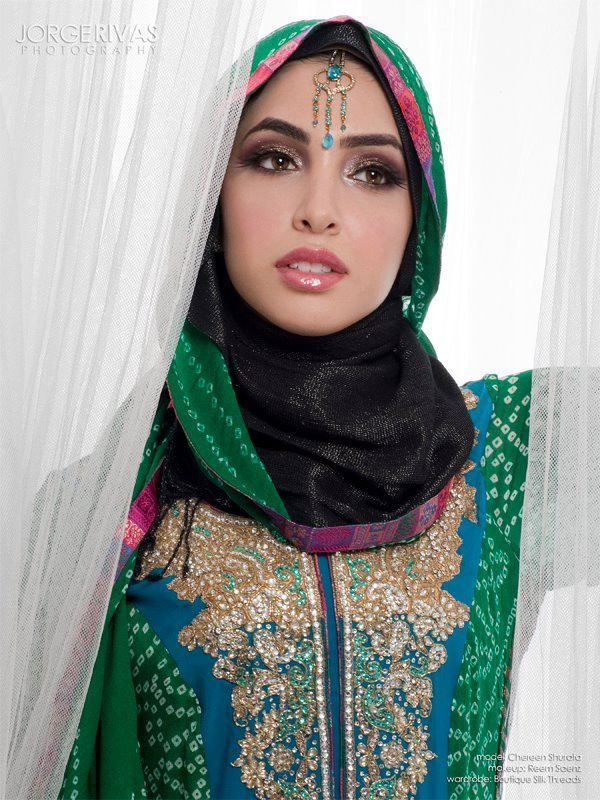 Wearing a hijab with a Pakistani suit, and I love the makeup!