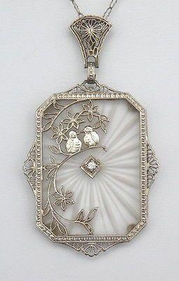 ART-DECO-14K-WHITE-GOLD-DIAMOND-CAMPHOR-GLASS-LOVE-BIRDS-PENDANT-NECKLACE