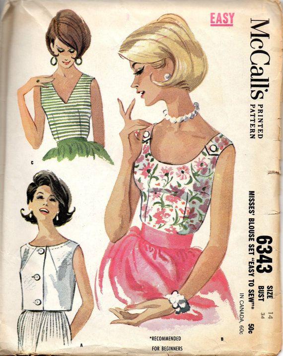 McCalls 6343 1960s Misses Blouse Pattern Scoop Neck V Neck Overblouse vintage sewing pattern by mbchills
