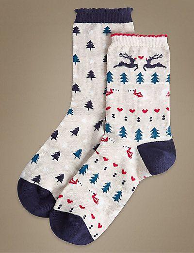 L2017 2 Pair Pack Fairisle Christmas Ankle High Socks | M&S