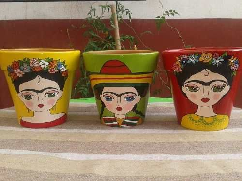 Macetas Pintadas Frida Kahlo - $ 80,00 en MercadoLibre