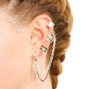 3 Pack Ring Detail Ear Cuffs
