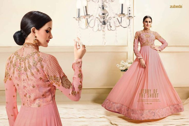 Designer suit world present ZUBEDA anarkali dress  Price - ₹2750/- (INR)  Top : Pure Georgette with Heavy embroidery  Bottom : Santoon  Dupatta : Pure Chiffon   SEMI STITCHED UPTO 44  For any order or inquiry whatsapp/Dm/call  :- 91-8460829923