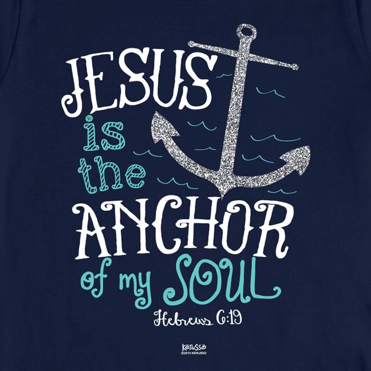 "This Kerusso Christian t-shirt features a glittering silver anchor and the encouraging words of scripture from Hebrews 6:19 ""We have this hope as an anchor for the soul, firm and secure."" 100% preshru"
