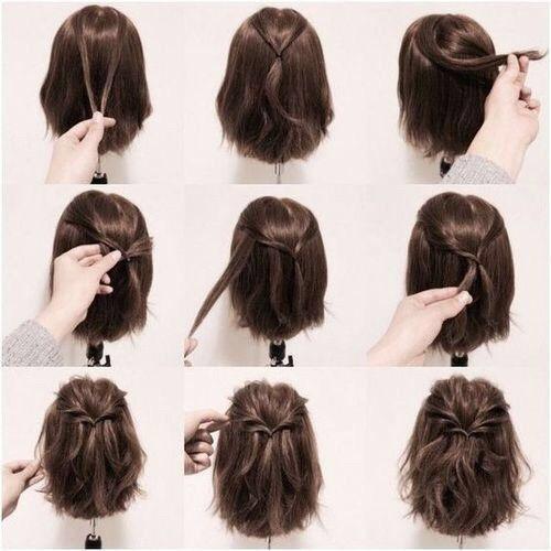 Brown + Half Down Half Up + Half Twisted Ponytail
