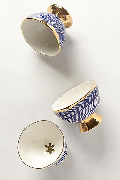 Pedestal bowls #anthrofave #blueandgold  ~~matches my Russian Tea service