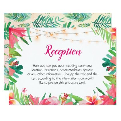 beddc470c5af Tropical String Lights Floral Wedding Enclosure Card - floral style flower  flowers stylish diy personalize