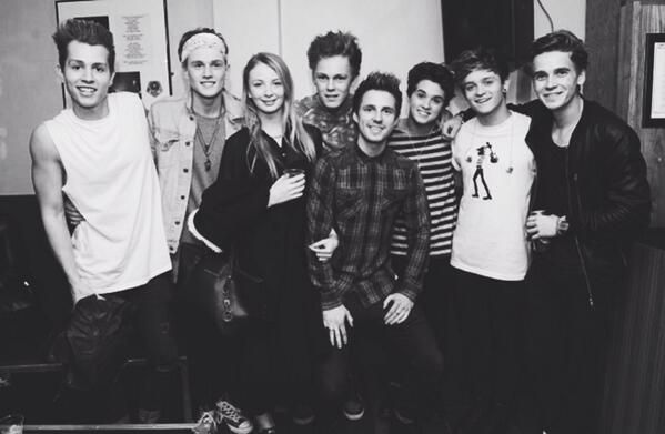 The Vamps with Marcus Butler, ThatcherJoe (Joe Sugg), Caspar Lee, and Caspar's girlfriend, Gaby