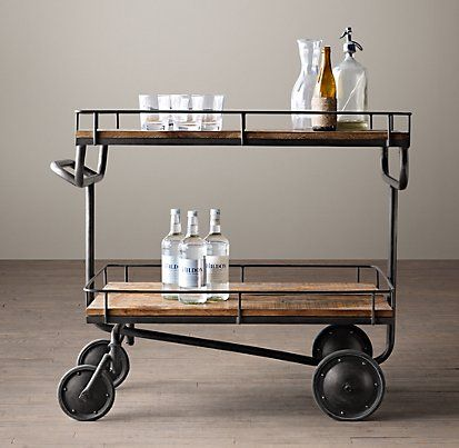 New Warehouse Trolley Bar Cart from Restoration Hardware