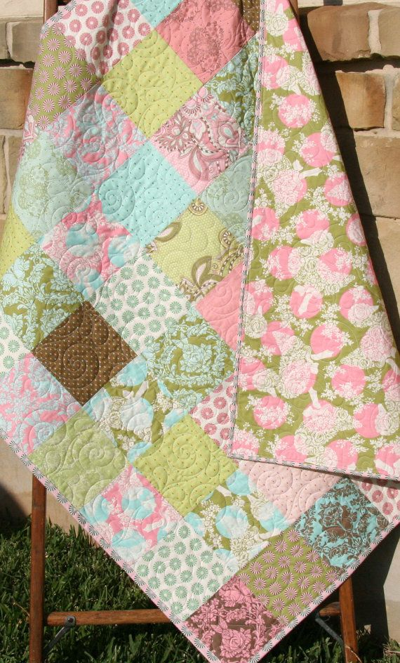 Shabby Chic Quilt, Baby Girl Patchwork Blanket, Brown Pink Aqua, Modern Cottage Decor, Hushabye Tula Pink, Pastel Designer Bedding by SunnysideDesigns2