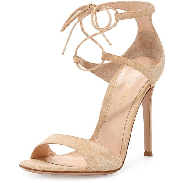 Gianvito Rossi Suede Double Ankle-Wrap Sandal found on Polyvore featuring shoes, sandals, heels, nude, d'orsay shoes, nude heel sandals, suede shoes, nude high heel shoes and nude ankle strap shoes