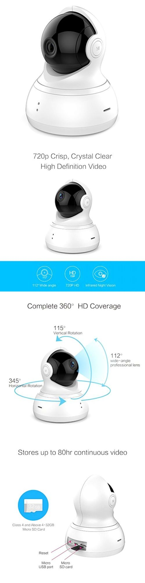 Security Cameras: Yi Dome Camera Pan/Tilt/Zoom Wireless Ip Security Surveillance System 720P Hd -> BUY IT NOW ONLY: $75.61 on eBay!