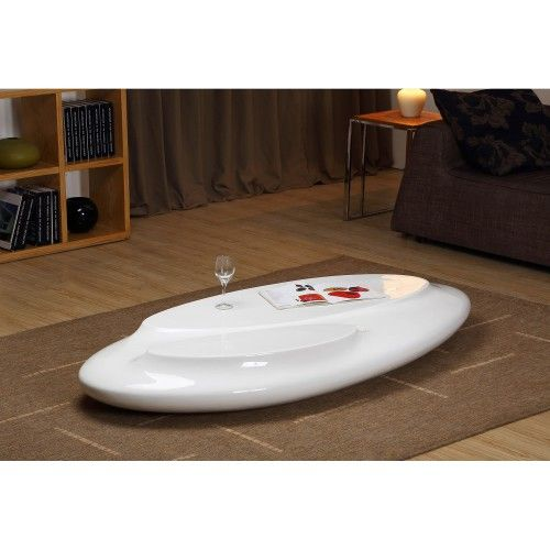 Modern Oval Glossy White Coffee Table Cosmo.