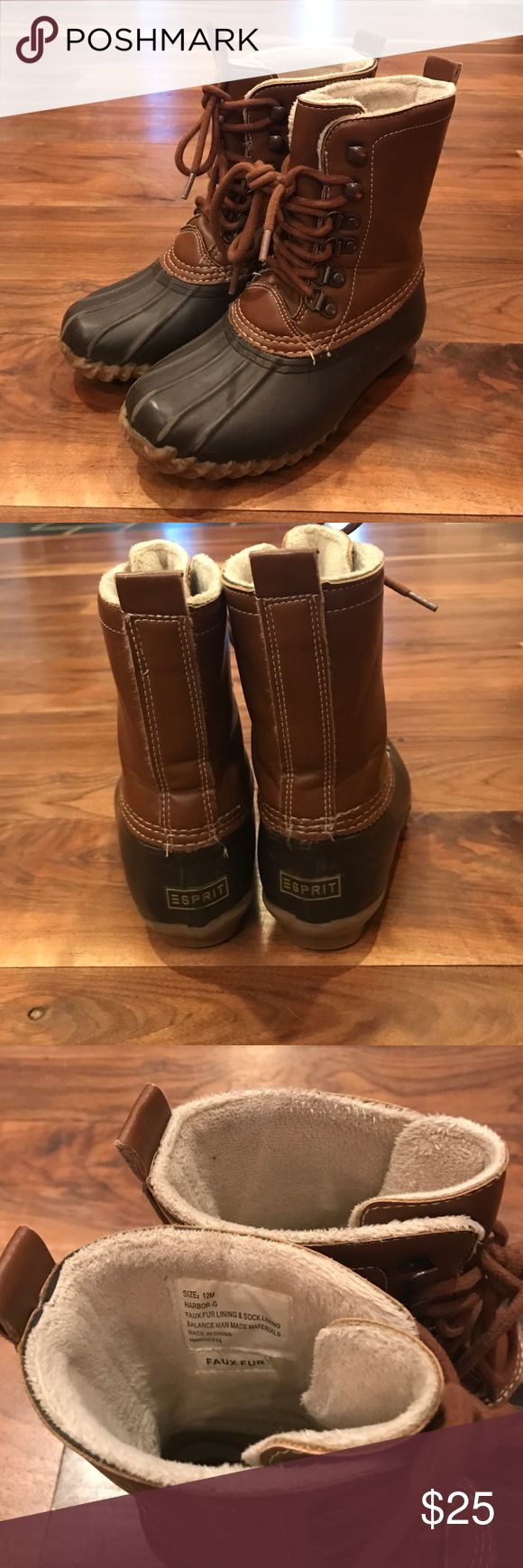 Kids  duck boots Kids size 12 rain boots, fleece lined Esprit Shoes Boots