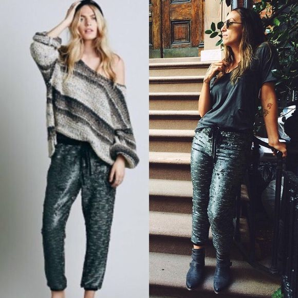 Free People SCINTILLATING SEQUIN Joggers / pants Color is pewter. Brand new with store tags Perfect condition. Blogger favorite. Drippy knit joggers with all over sequin detailing. Drawstring elastic waistband. Lined. *96% Rayon *4% Spandex *Machine Wash Cold * please ask questions if interested  Free People Pants Track Pants & Joggers