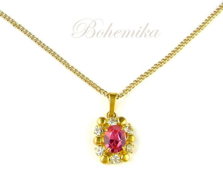 Antique Vintage Art Deco Pink Czech Glass Pendant Necklace Gold Tone Rhinestone  #Pendant